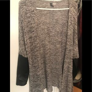 H&M sweater with faux leather sleeves